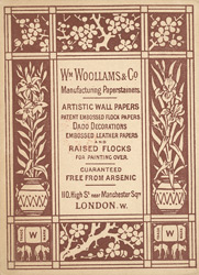 Advert for William Woollams & Co, wallpaper seller